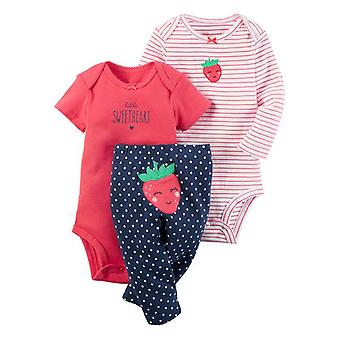 3Pcs Baby Outfit, Body, Top And Pants -Strawberry