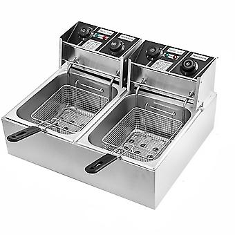 Electric Stainless Steel, Double Tank Fryer With Basket