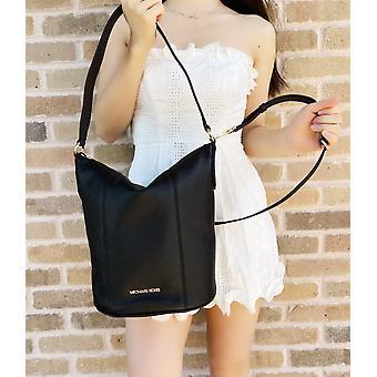 Michael kors brooke medium bucket bag hobo tote crossbody black leather handbag