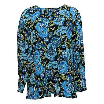 Du Jour Women's Top Long-Sleeve Floral Printed Woven Blue A345231