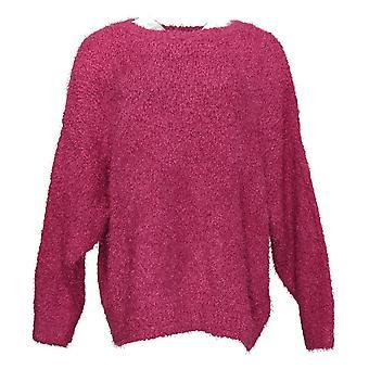 G By Giuliana Women's Sweater Plus Smushy Yarn Pink 722-484