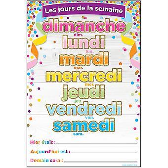 """Smart Poly French Immersion Chart, 13"""" X 19"""", Confetti, Les Jours De La Semaine (Días de la Semana)"""