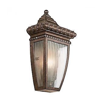 Aplique De Lluvia Veneciana, Bronce Cepillado Y Vidrio, Media Linterna