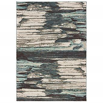 3' x 6' Ivory Blue Gray Abstract Layers Indoor Area Rug
