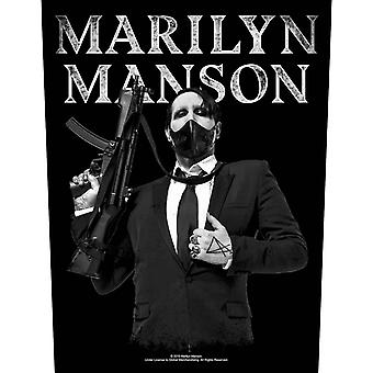 Marilyn Manson Back Patch Machine Gun Logo Official Cotton Sew On 36cm x 29cm