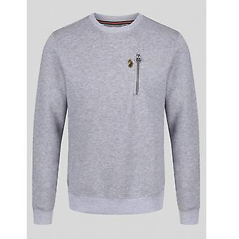 Luke 1977 Paris 2 Crew Neck Sweatshirt - Mid Marl Grey