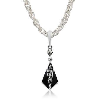 Art Deco Style Round Marcasite & Black Enamel Pendant Necklace in 925 Sterling Silver 214P285201925