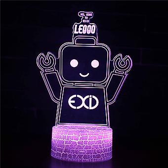 Lampy 3D z pilotem, lampa LED 16 Kolor Światło Ściemniane Przełącznik dotykowy USB / Wkład baterii, Dekoracja urodzinowa Świąteczny prezent dla dziecka Teen Woman Mężczyzna-#737