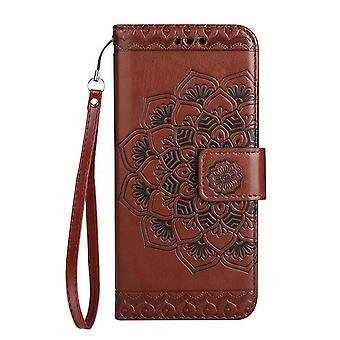 Folio leather case flowers for Sony Xperia XA1 - Brown