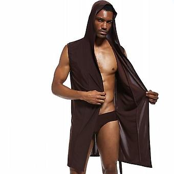 남자 섹시한 목욕 가운 아이스 실크 후드 잠옷