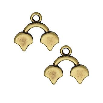 Cymbal Bead Endings para Ginko Beads, Kastro II, 14x16mm, 2 Piezas, Antiqued Brass Plated