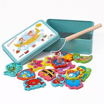 الأطفال لعبة الطفل التعليمية، مربع الحديد، الصيد مجموعة لعبة خشبية، الجدة،