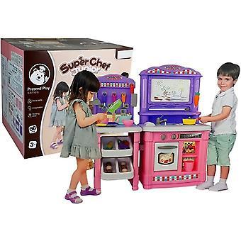 Kinderkeuken met schrijfbord en kookgerei - 78x28x68 cm - roze met paars
