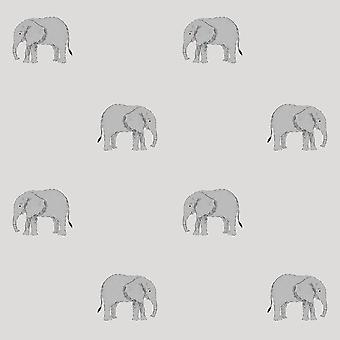 Sophie Allport Elephant Wallpaper Gris 181521