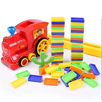 Puzzle domino car children train toy set domino building block set(Red)