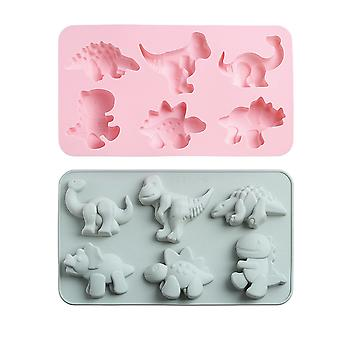2pcs 6 Hole Cute Dinosaur Silicone Mould For Making Cake Candy Chocolate Soap
