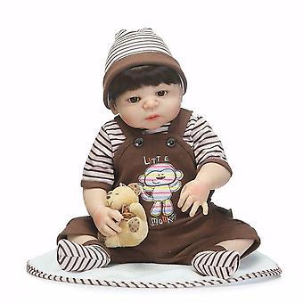 Bebes herboren 46cm volledige siliconen herboren baby jongen poppen speelgoed luxe set met beer kind baden speelgoed boneca herboren poppen voor kind