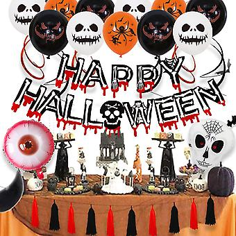 Halloween party balloon decoration blood bone hanging flag paper card red black tassel suit