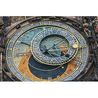 Bakgrunnsmaleri Astronomisk klokke på gamlebytorget i Praha