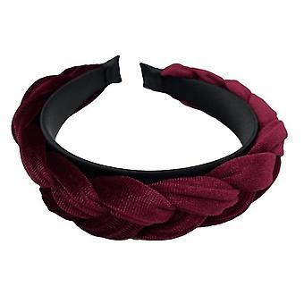 Vintage Gold Velvet Twist Braid Cross Headband Ladies(Red)