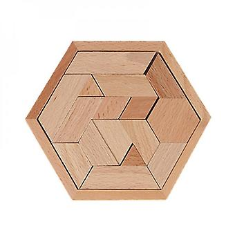 12cm Children's Wooden Puzzles, Geometric Shape Games, Early Education Toys-b