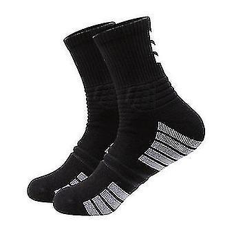 3 Pairs Of Outdoor Running Basketball Sports Socks Ladies Mid-tube Cotton Socks(Black)