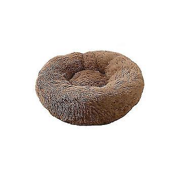 Плюшевая собака-пончик, кошачья кровать, круглая самогретая успокаивающая кровать для домашних животных, мягкая клетка для объятий (кофе)