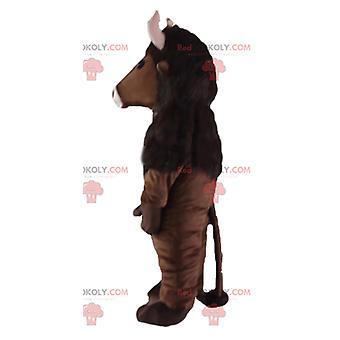 Maskottchen REDBROKOLY.COM braunen Büffel mit rosa Hörnern