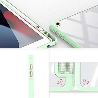 Case For Ipad 8 10.2 2020,folio Trifold Stand Smart Cover With Detachable Slim Hard Shell Transparent Back Cover - Green