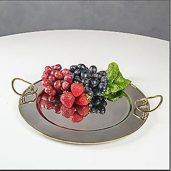 Round Gold Bordered Serving Tray