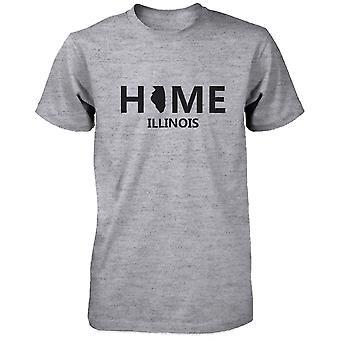 Дома IL государства серые мужские футболки США Иллинойс родной хлопок Tee
