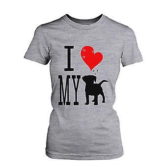 Niedliche Grafik-Anweisung die Frauenunterhemde - ich liebe meinen Hund grau Graphic Tee