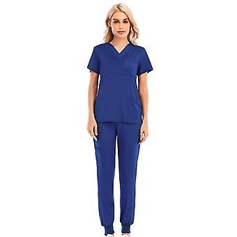 Colors V-neck Short Sleeve Pocket Nursing Working Top Pants Uniform