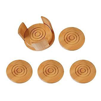 Bamboo Coasters 6 Pack Set Absorbent och kondensering träunderlägg med hållare