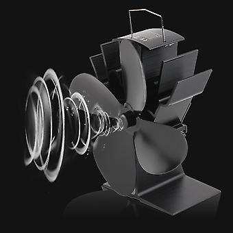 Kestävät 4 terää Alumiini Musta Lämpökäyttöinen Liesi Tuuletin Polttoaineen säästö liesi tuuletin