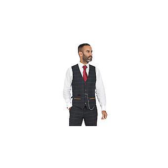 Marc Darcy Eton Navy Check Tweed Waistcoat Avec Velvet Contrast