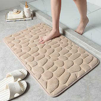 """מחצלת אמבטיה סופגת ללא החלקה, שטיח אמבטיה קצף זיכרון, עיסוי ומחצלת רצפה הניתנת לכביסה, עובי כ-20 מ""""מ, חאקי, 50 * 80 ס""""מ"""