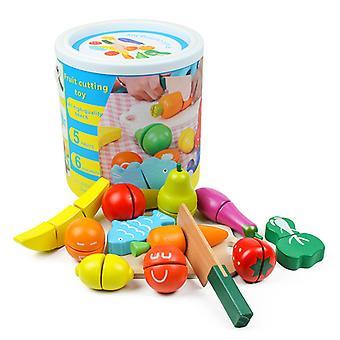 Lelu keittiö puu teeskennellä peli lapset puinen leikkaus hedelmät ja vihannes lelu lapset teeskennellä keittiö tarvikkeet ruoka peli peli lelu