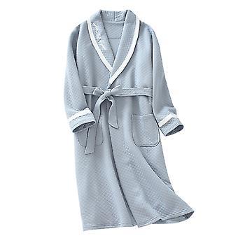 Yunyun Men's Solid Color Lapel Tie Long Sleeve Bathrobe