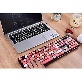 Bezdrátová kombinace klávesnice a myši, ergonomická klávesnice Usb 2,4 g, roztomilé kulaté klávesové zkratky retro psacího stroje (červená klávesnice ve smíšeném stylu + myš)