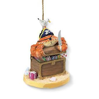 Yo Ho Ho Pirate Crab with Chest of Booty Christmas Holiday Ornament Resin
