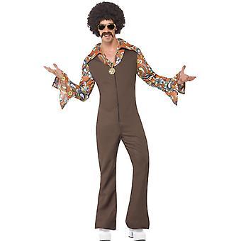Groovy Boogie kostume Braun buksedragt med vedlagte shirt størrelse M