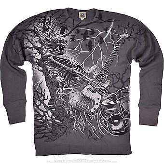 Liquid blue -  rockpocalypse - long sleeve thermal t-shirt  - grey