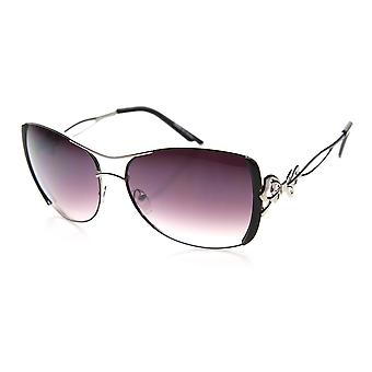 Womens Oversized Bow Ribbon Metal Cut Out Temple Fashion Sunglasses
