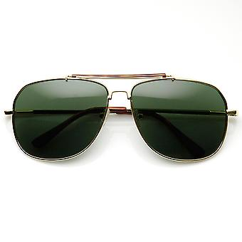 Klassiker Quadrat Full Metal Frame Crossbar Pilotenbrille