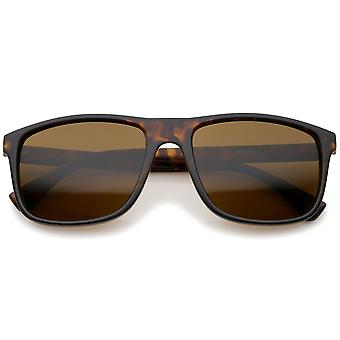 Modern Casual Lifestyle Flat Top Rectangle Lens Horn Rimmed Sunglasses 56mm