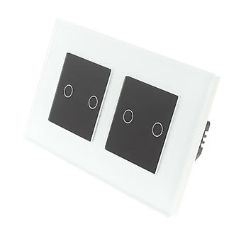 I LumoS White Glass Double Frame 4 Gang 1 Way WIFI/4G Remote & Dimmer Touch LED Light Switch Black Insert