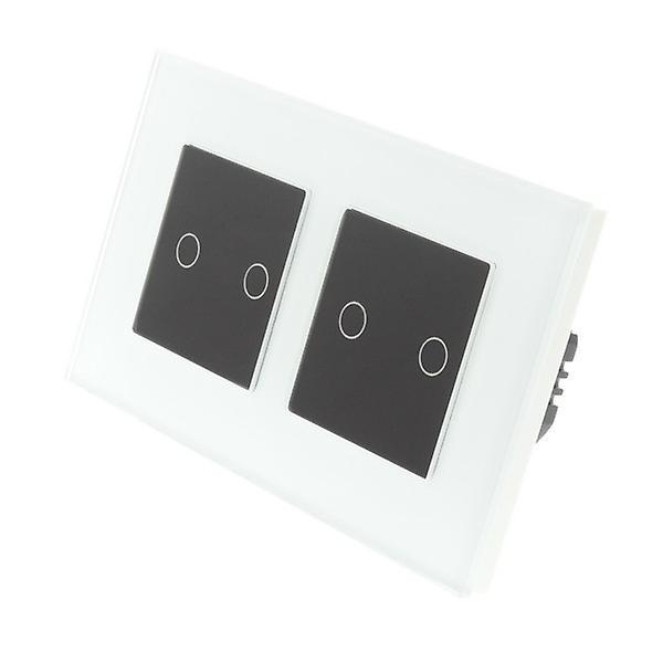 I LumoS White Glass Double Frame 4 Gang 1 Way Touch Dimmer LED Light Switch Black Insert