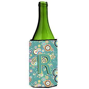 Litera R koło koło Teal początkowe alfabet butelki wina napojów izolator Hugg