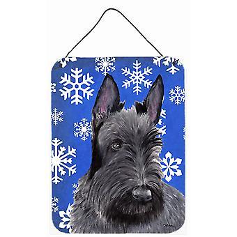 طباعة الكلب اﻻسكتلندي الشتاء الثلج عطلة معدنية الجدار أو الباب معلقة